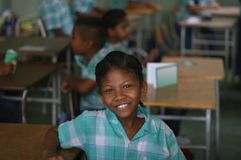 Girl in classroom, paramaribo,. Kid in school in the classroom Royalty Free Stock Photography