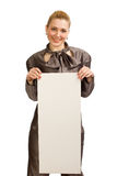 The girl with a clean sheet of paper Stock Photography