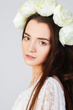 Girl with clean skin and beautiful face. Young model posing in hairhoop Stock Images