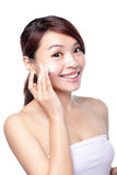 Girl with clean skin on pretty face Stock Images