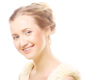Girl with clean skin on pretty face Royalty Free Stock Image