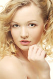 Girl with clean skin on pretty face Royalty Free Stock Images