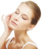 Girl with clean skin on pretty face Stock Photos