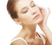 Girl with clean skin on pretty face Royalty Free Stock Photos