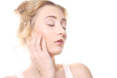 girl with clean skin on pretty face Royalty Free Stock Photography