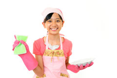 Girl with a cleaning Royalty Free Stock Photo