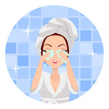 Girl Cleaning and Care Her Face Royalty Free Stock Image