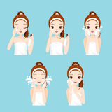 Girl Cleaning And Care Her Face With Various Actions Set Royalty Free Stock Image