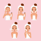 Girl Cleaning And Care Her Face With Various Actions Set Stock Image
