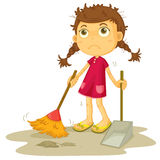 Girl cleaning floor royalty free stock images
