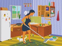 Girl cleaning the kitchen Royalty Free Stock Images