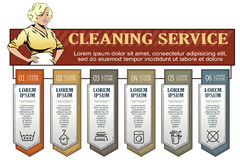 Girl from cleaning service. Infographic your brand. Stock Images