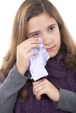 Girl cleaning tears Royalty Free Stock Photos