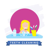 Girl cleaning teeth. Beautiful white teeth smile. Royalty Free Stock Images