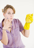 Girl cleaning up Stock Photography