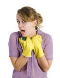 Girl cleaning up Royalty Free Stock Photos