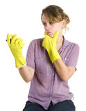 Girl cleaning up Royalty Free Stock Images