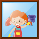 Girl cleaning window with cloth stock illustration