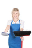 Girl cleaning woman. Stock Photos