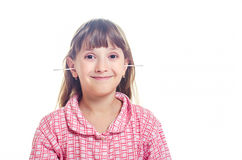 The girl cleans ears Q-tips Royalty Free Stock Photography