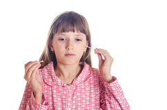 The girl cleans ears Q-tips Royalty Free Stock Photo