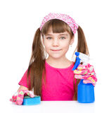 Girl cleans the house. isolated on white background Stock Photos
