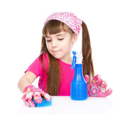 Girl cleans the house. isolated on white background Stock Photography