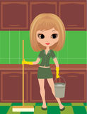 Girl cleans in rubber gloves Royalty Free Stock Image