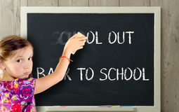 Girl clears school out on blackboard. A girl clears school out on blackboard Stock Photos