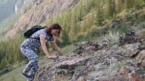 Girl climber climbs a steep rock. Girl climber climbs a steep cliff with sunny weather stock footage