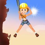 Girl climber on mountain Stock Photography