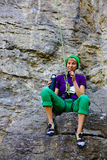 Girl climber is resting. Stock Image