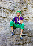 Girl climber is resting. Stock Images