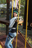 Girl climber training Royalty Free Stock Photo