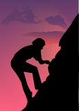 Girl climbing. Woman climbing on the mountain on sunset background vector illustration