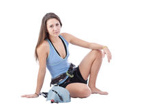 Girl in climbing equipment Royalty Free Stock Photography