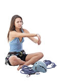 Girl in climbing equipment Stock Photography