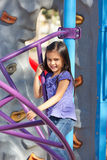 Girl On Climbing Frame In Park Royalty Free Stock Photo