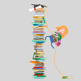 Girl climbing mountain of books.3D. 