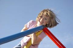 Girl on climbing pole 03 Stock Photo