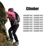 Girl climbing on the rock Royalty Free Stock Photos