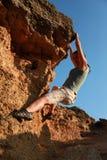 Girl climbing at rock at outdoor Royalty Free Stock Photography