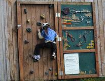 Girl Climbing Rock Wall Stock Photos