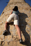 Girl climbing at tower. Photo from back side #10 Royalty Free Stock Photos