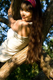 Girl climbing a tree Stock Images