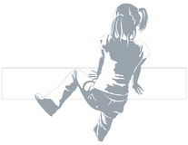 Girl Climbing Vector. A vector illustration created in Adobe Illustrator of girl climbing a wall (top view Stock Photo
