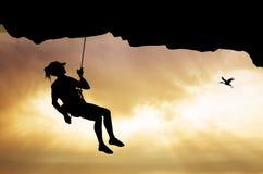 Girl climbs. Illustration of girl climbs at sunset royalty free illustration