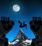 Girl climbs into the New Year 2015 Stock Photos