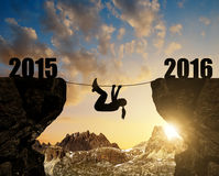 Girl climbs into the New Year 2016. Stock Images