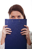 Girl with the clipboard Stock Images